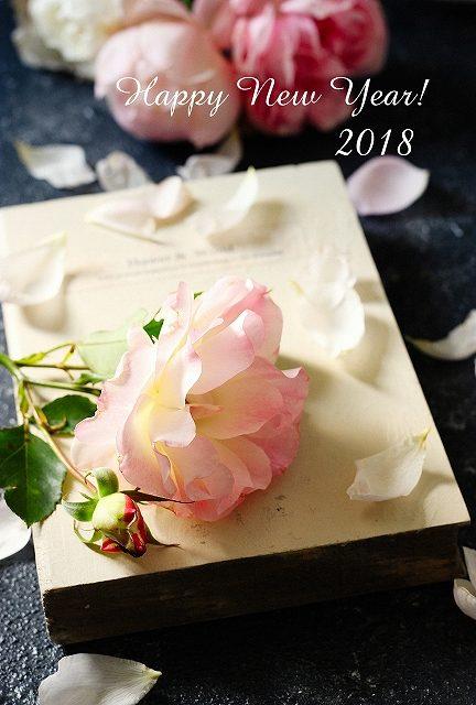 薔薇ばらの年賀状3_2018年干支いぬ*写真年賀状無料素材*