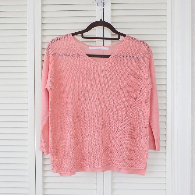 オレンジのリネンVネックセーター